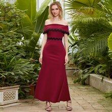 Angel-Fashions Schulterfreies Ballkleid mit Spitzenbesatz und Perlen