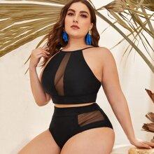 Bikini de cintura alta top con malal en contraste - grande