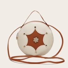 Bolso circular con diamante de imitacion y tachuela