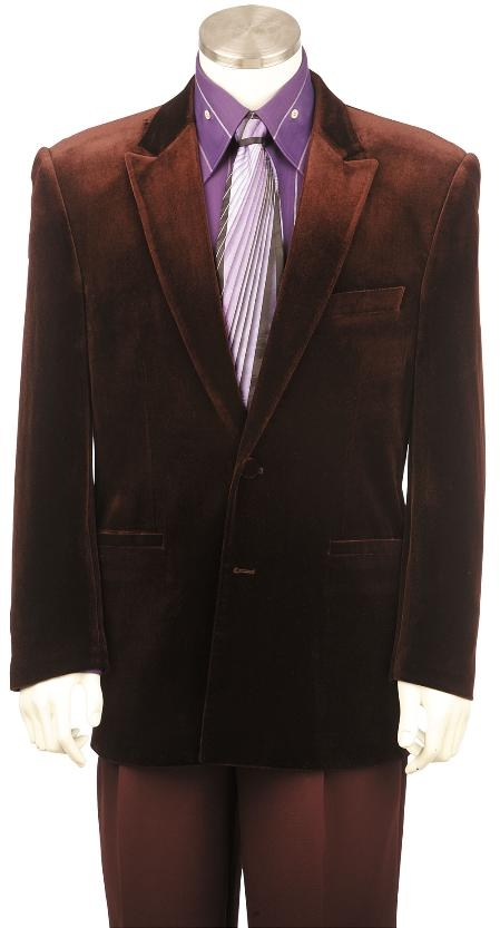 2 Button Stylish Brown Velvet Suit Mens