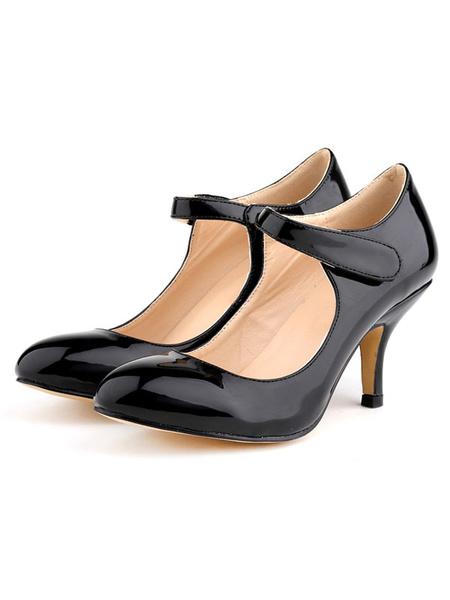 Milanoo Women's Mid Heel Pumps Vintage Round Toe Kitten Heel Mary Jane Shoes in Black