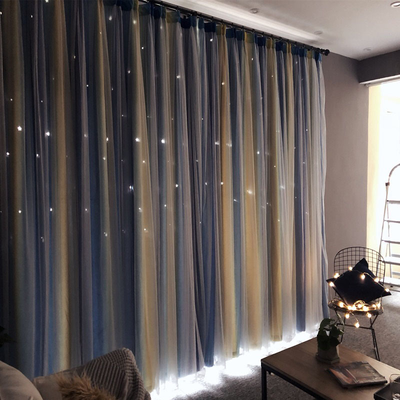 Romantic Style Star Hollowed-out Custom Blackout Curtains for Living Room Bedroom