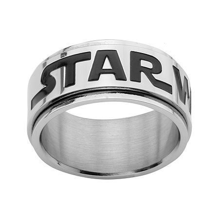 Star Wars Logo Mens Stainless Steel Spinner Ring, 10 , No Color Family