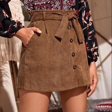 Button Front Self Tie Corduroy Skirt