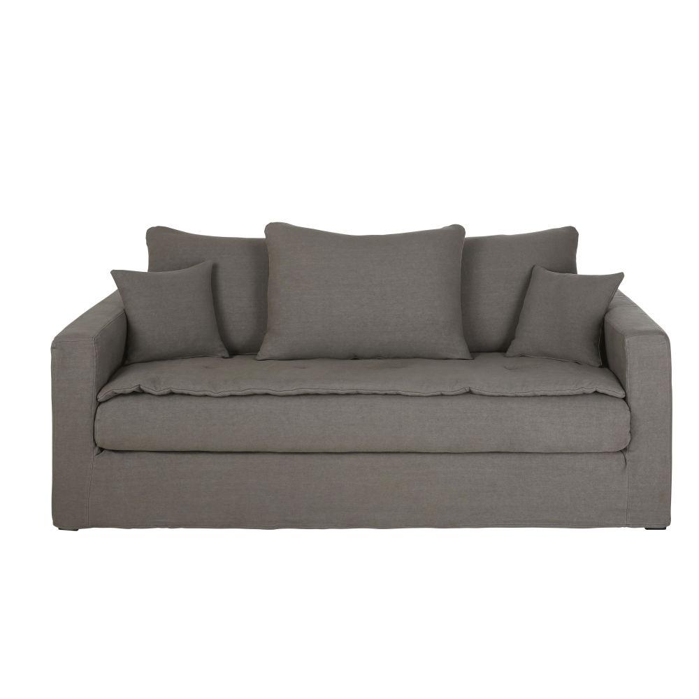 3/4-Sitzer-Schlafsofa mit dickem grauem Leinenbezug Celestin