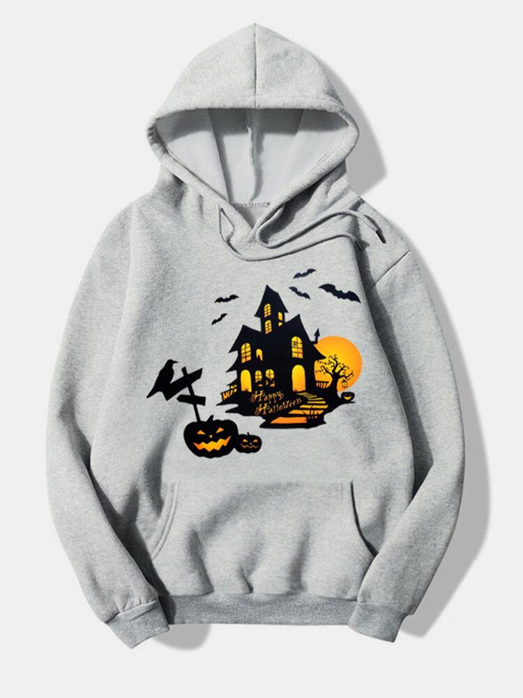 Halloween Printed Long Sleeve Hoodie For Women