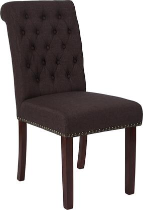 Hercules Collection BT-P-BRN-FAB-GG HERCULES Parsons Chair with Button Tufted Rolled Back  Brass Accent Nail Trim  Floor Protector Plastic Glides