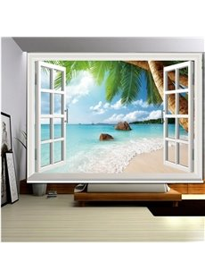 3D Printed Waves and Palm Trees in the Seaside Polyester Scenery Curtains Roller Shade