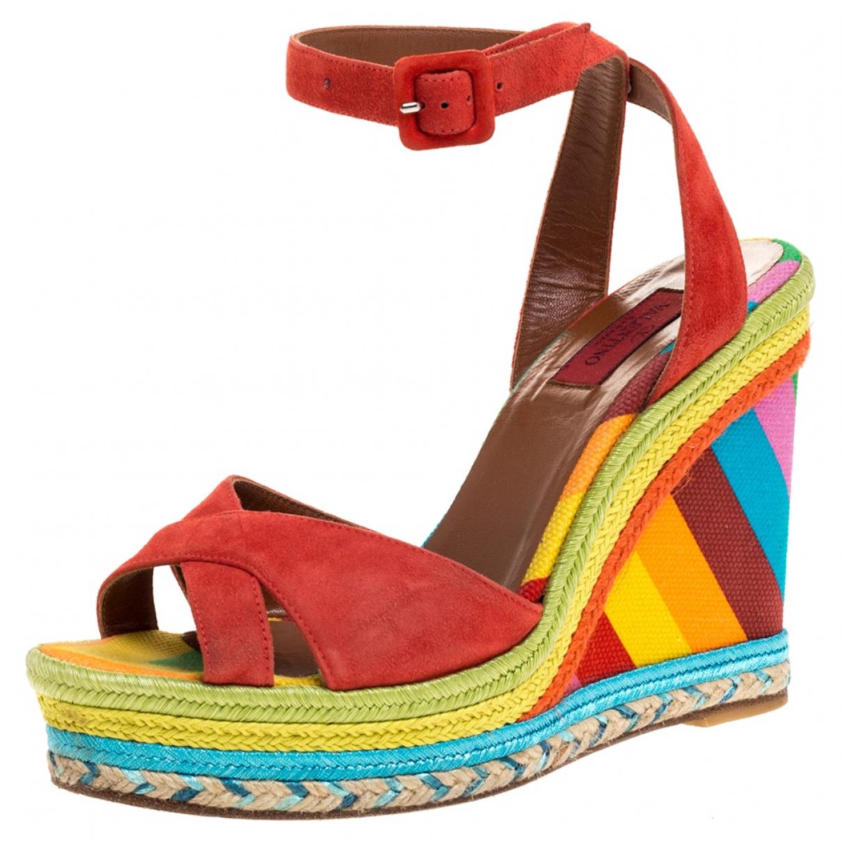 Autre Marque N Multicolour Suede Sandals for Women 7.5 US