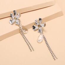 Rhinestone Tassel Flower Drop Earrings