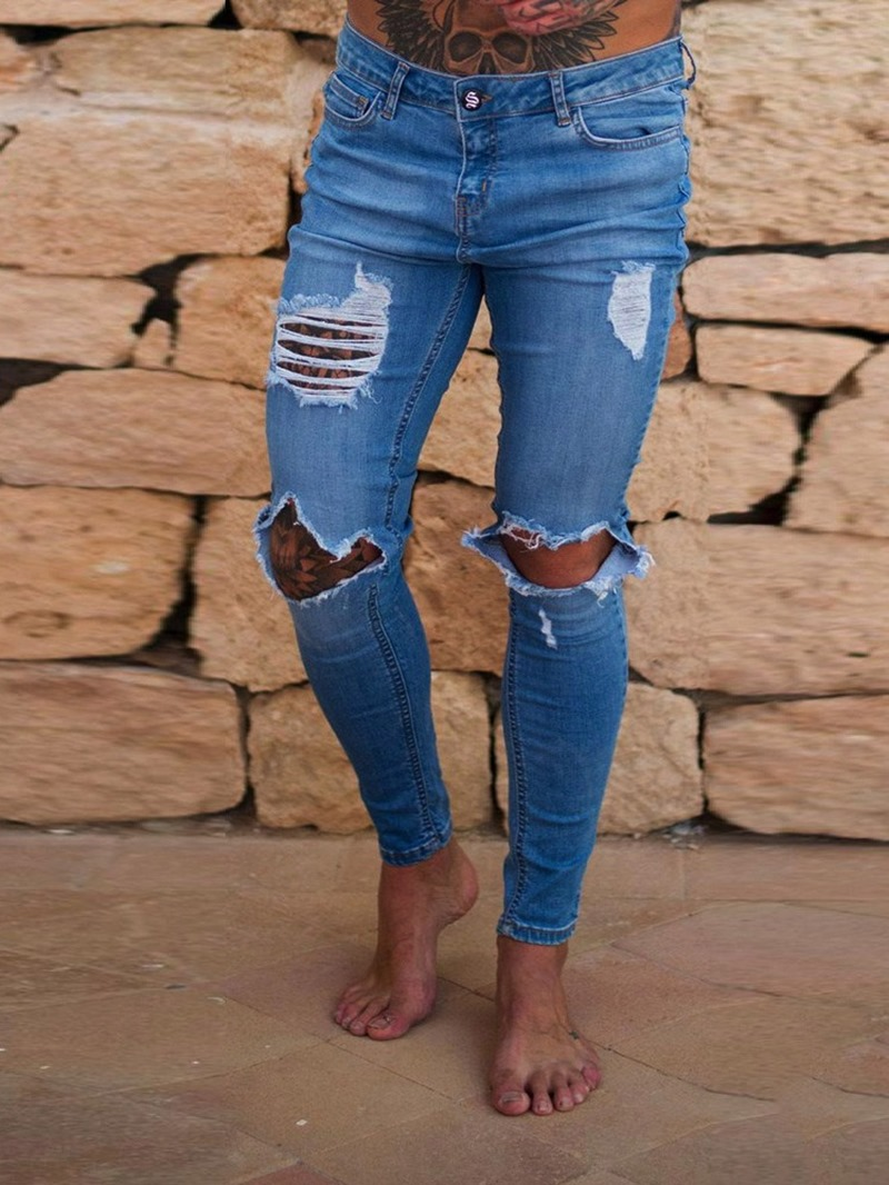 Ericdress Pencil Pants Hole European Zipper Jeans