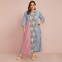 Plus Floral Print Striped Color-Block Tunic Dress