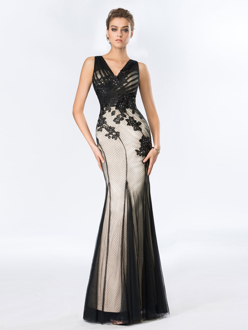 Trumpet V-Neck Tulle Applique Evening Dress