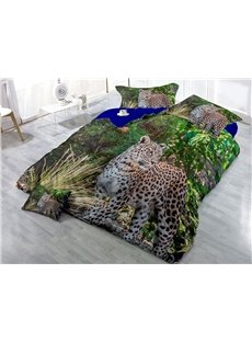 Leopard and Green Forest Wear-resistant Breathable High Quality 60s Cotton 4-Piece 3D Bedding Sets