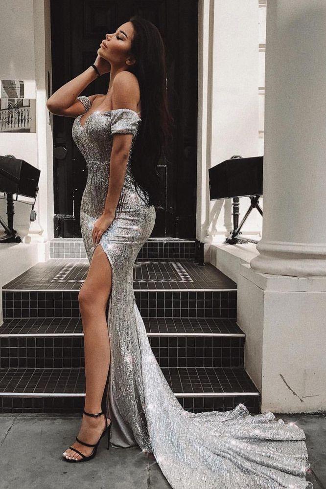 Vestido de fiesta con abertura en la parte delantera sin mangas y hombros descubiertos sexy