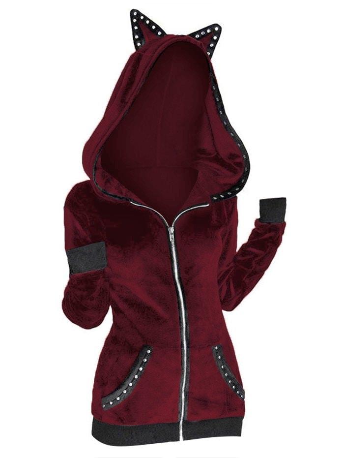 Grommet Trim Animal Ear Gothic Hooded Jacket