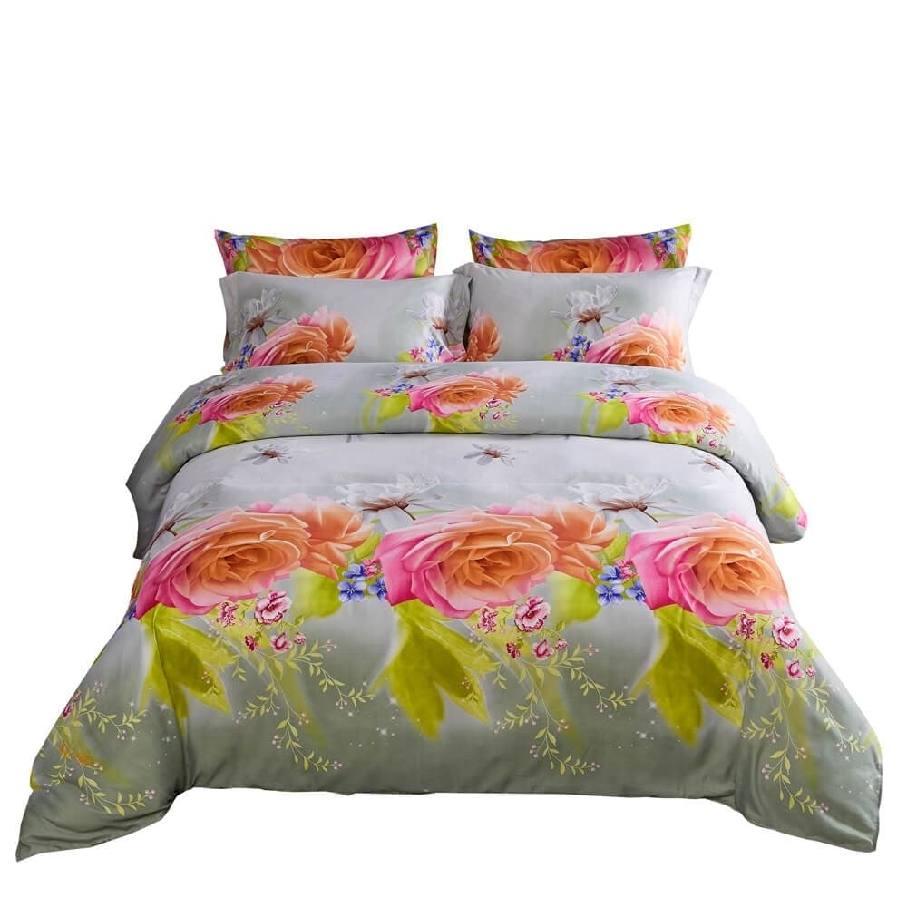 Duvet Cover Set, 6 Pieces Romantic Floral Fitted Bedding (King)