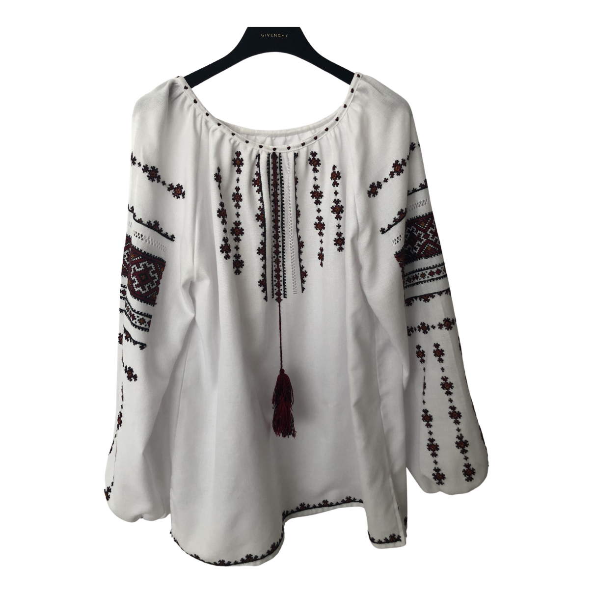 Non Signé / Unsigned Hippie Chic White Cotton  top for Women 42 FR