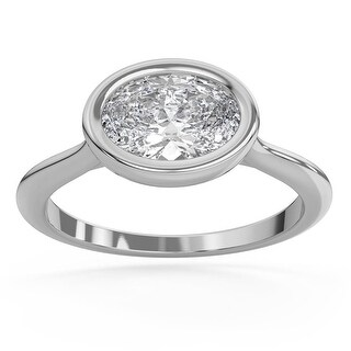2 CT Moissanite Sunburst Oval Bezel Solitaire Engagement Ring in 14K (5.25 - White)