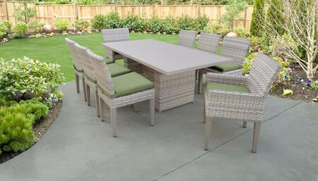 Fairmont Collection FAIRMONT-DTREC-KIT-6ADC2DCC-CILANTRO Patio Dining Set With 1 Table  6 Side Chairs  2 Arm Chairs - Beige and Cilantro