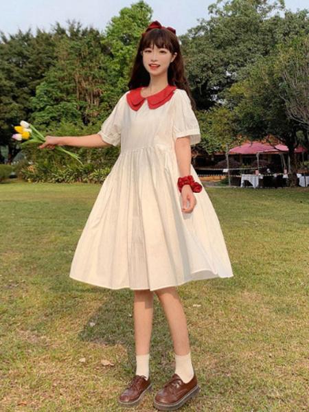 Milanoo Sweet Lolita OP Dress Peter Pan Collar Short Sleeve Lolita One Piece Dresses