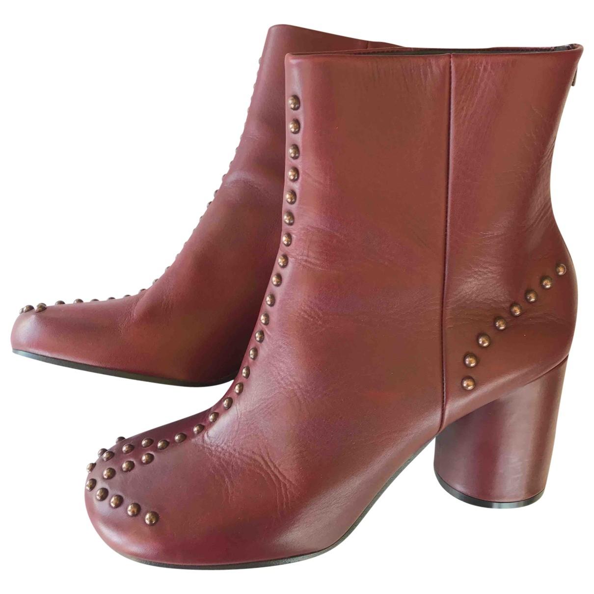 Maison Martin Margiela - Boots   pour femme en cuir - bordeaux
