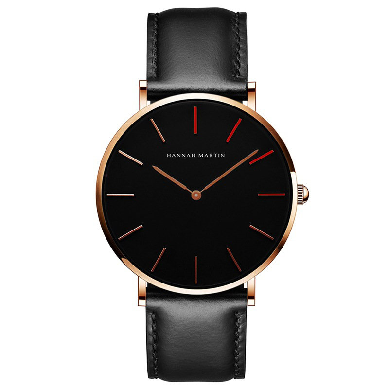 Business Quartz Watches No Number Leather Adjustable Strap Fashion Watches for Men