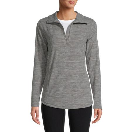 St. John's Bay Active Womens Mock Neck Long Sleeve Quarter-Zip Pullover, Large , Gray