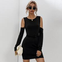 Cold Shoulder Fitted Dress Without Belt