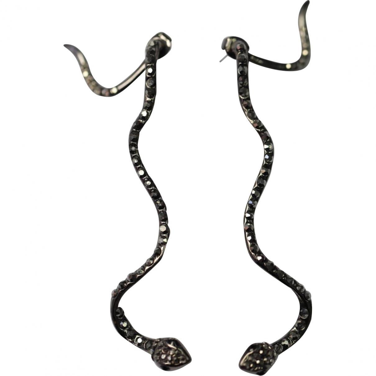 Non Signé / Unsigned Motifs Animaliers Black Metal Earrings for Women \N