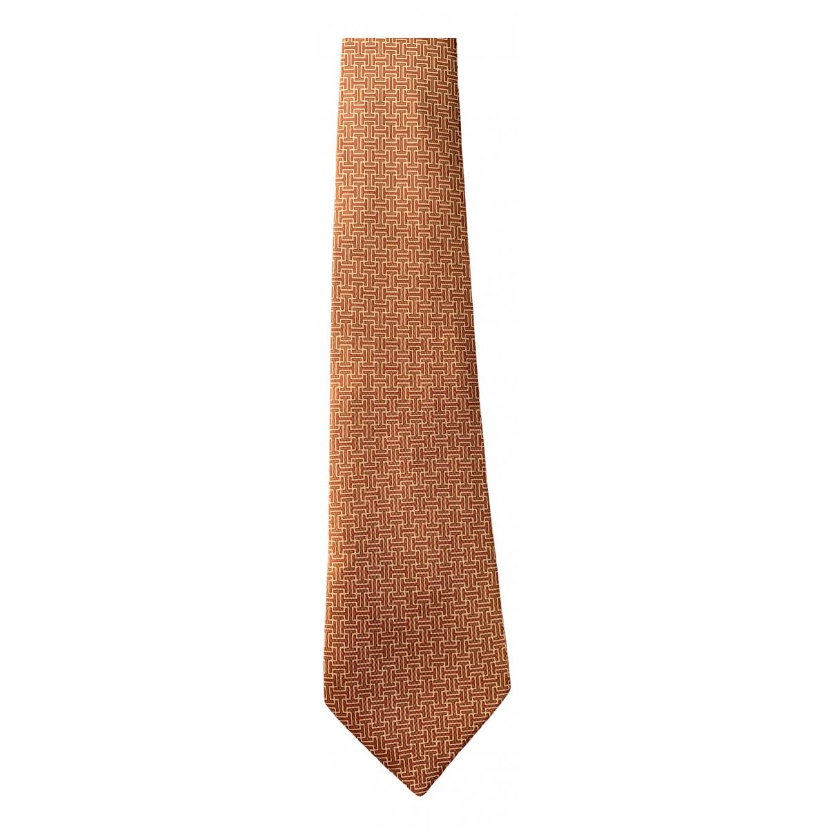 Hermès N Orange Silk Ties for Men N