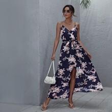 Cami Wickelkleid mit Blumen Muster und Selbstguertel