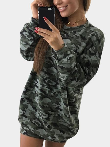 Yoins Camouflage Pattern Crew Neck Long Sleeves Bodycon Hem Mini Dress