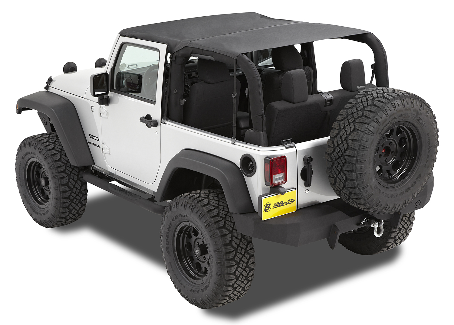 Bestop 52583-35 Black Diamond Header Extended Safari Style Bikini Top Jeep Wrangler 2-Door 2010-2018