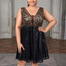Kleid mit Kontrast Netzstoff, Leopard Muster und Pailletten
