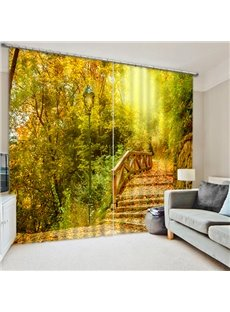 The Bridge Covered with Fallen Leaves Print 3D Custom Living Room Curtain