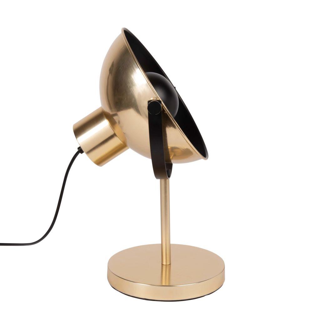 Lampe im Scheinwerfer-Look aus Metall, schwarz und goldfarben