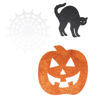 Mini Halloween Glitter Cut Outs, 6ct - Assorted