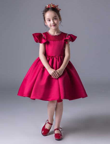 Milanoo Flower Girl Dresses Satin Short Sleeve Bow Ivory Princess Dress Knee Length Kids Party Dresses