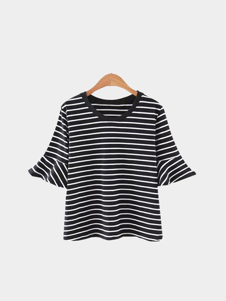 Yoins Black Stripe Pattern Flounced Sleeves Round Neck Casual Style T-shirt