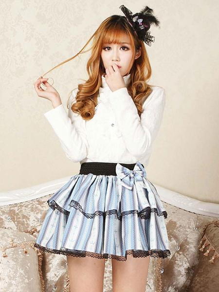 Milanoo Classic Lolita SK Bow Ruffle Print Lace Light Blue Lolita Skirt
