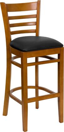 Hercules Collection XU-DGW0005BARLAD-CHY-BLKV-GG Barstool with Footrest Support  Ladder Back Design  Cherry Solid European Beech Hardwood