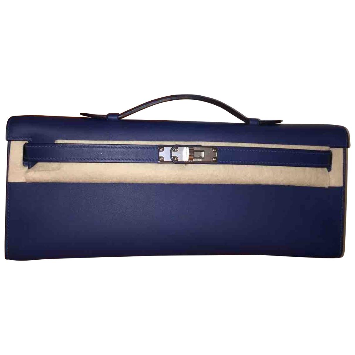 Hermes - Pochette Kelly Cut Clutch pour femme en cuir - bleu