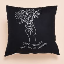 Flower & Hand Print Cushion Cover Without Filler