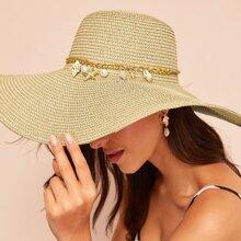 Sombrero con ala ancha con diseño de cadena colgandera de concha y mar de estrella