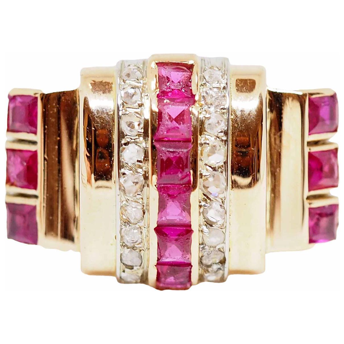 - Bague Art Deco pour femme en or rose - dore