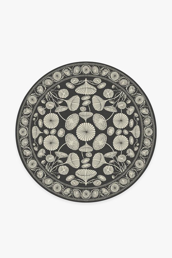 Washable Rug Cover & Pad | Cynthia Rowley Suzani Black Rug | Stain-Resistant | Ruggable | 6' Round
