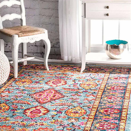 nuLoom Floral Persian Lavenia Area Rug, One Size , Blue