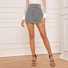 Shorts mit doppelten Knopfleisten, breitem Taillenband und Hahnentritt Muster