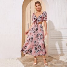Tie Front Floral Print Crop Top & Skirt Set
